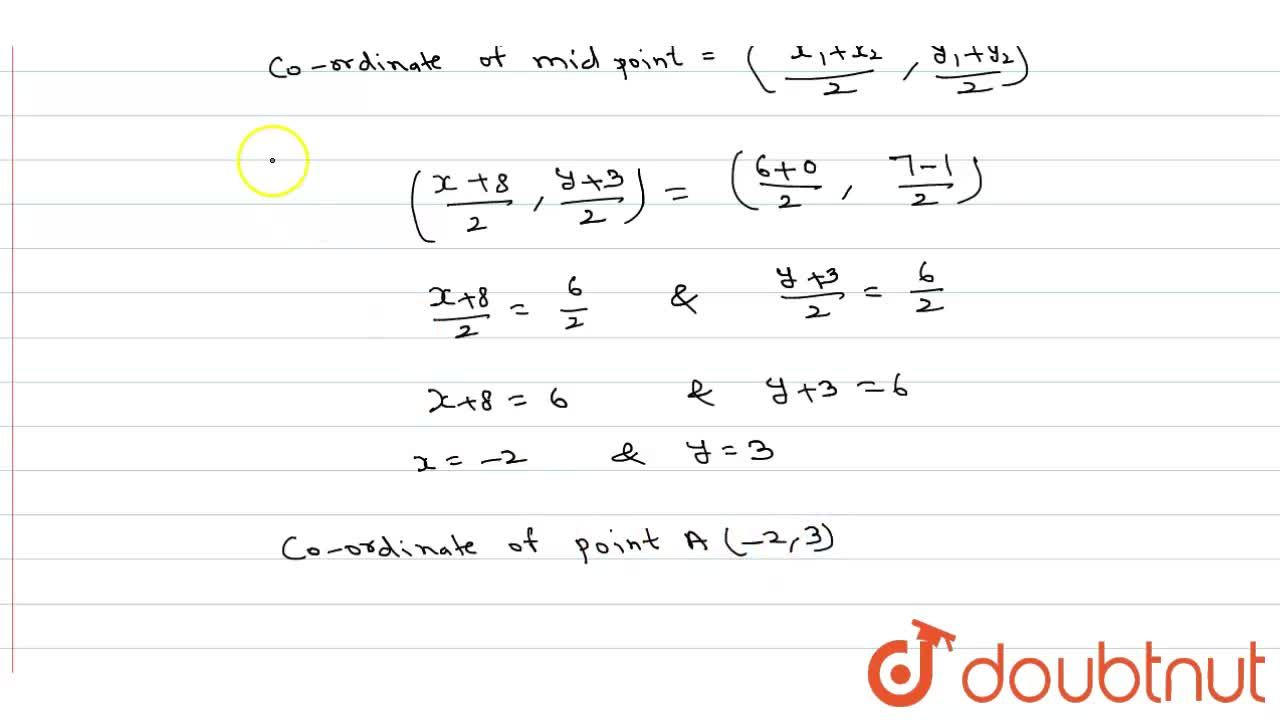 Solution for Three vertices of a parallelogram ABCD are B (6,7)