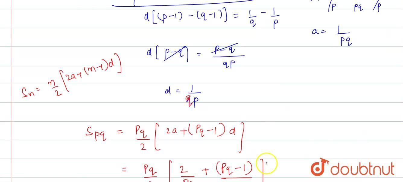 In an A.P., if pth terms is (1),(q) and qth term is (1),(p) prove that the sum of first pq tems is (1),(2)(pq+1), where pneq.