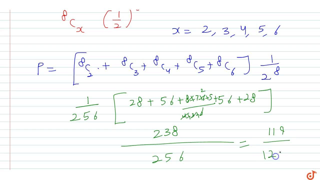Solution for If X follows binomial distribution with mean 4 and