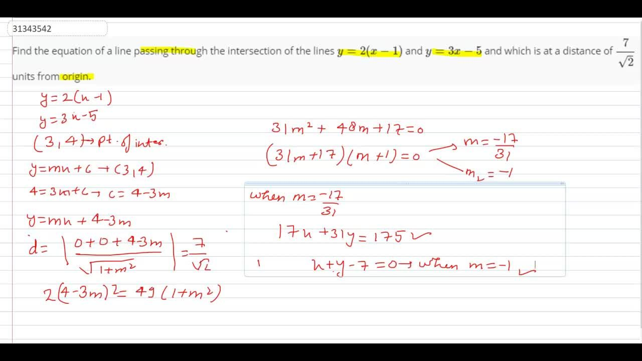 Solution for Find the equation of a line passing through the in