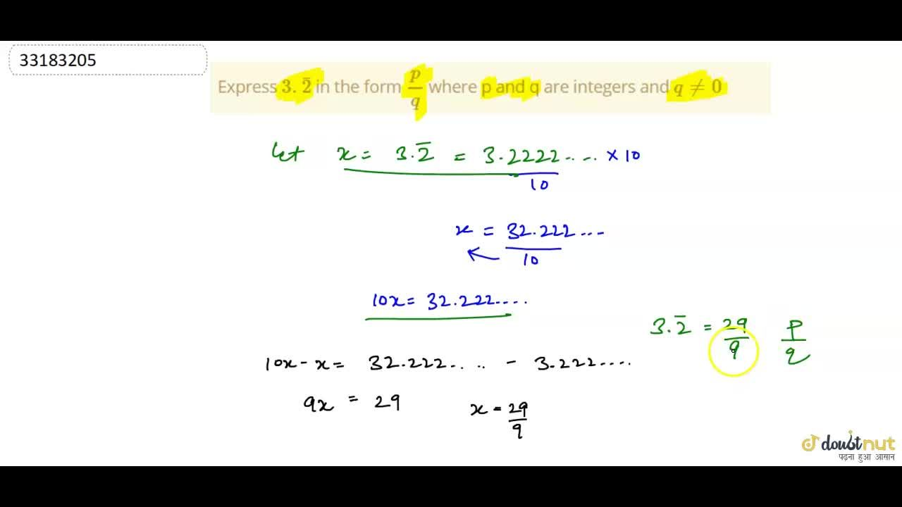 Solution for Express 3.bar(2) in the form (p),(q) where p a