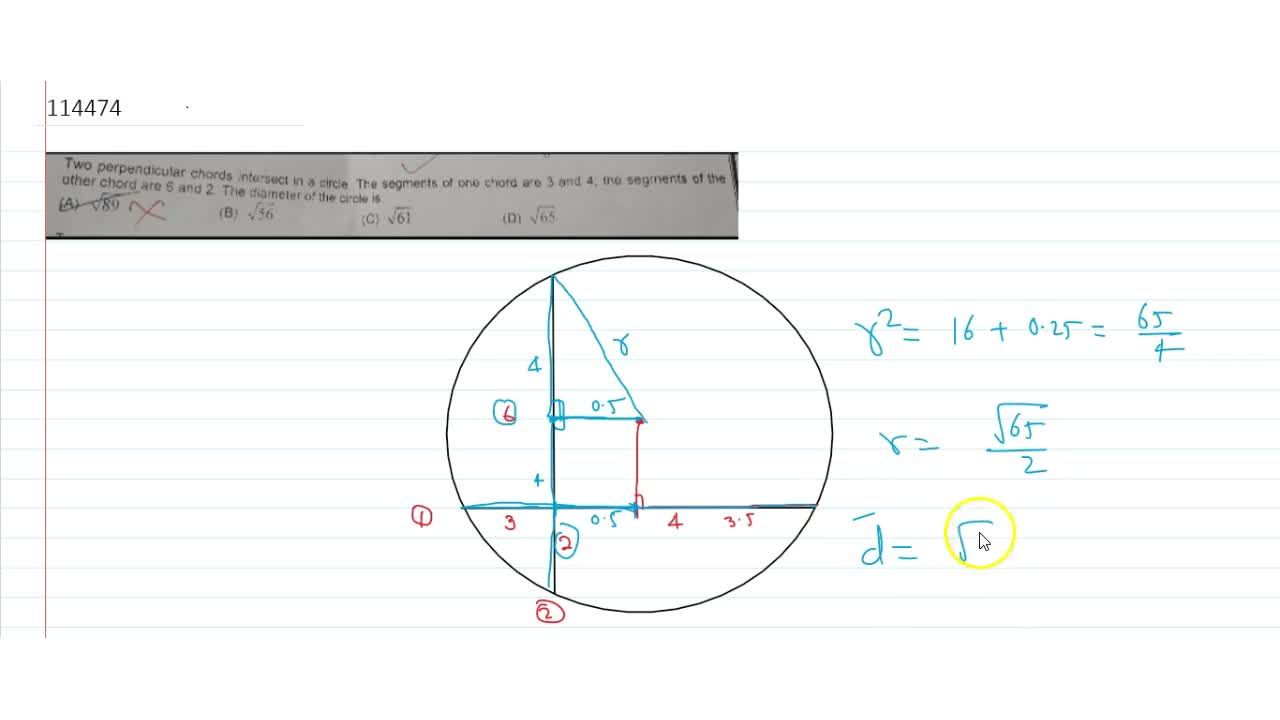 Solution for  Two perpendicular chords intersect in a circle.Th