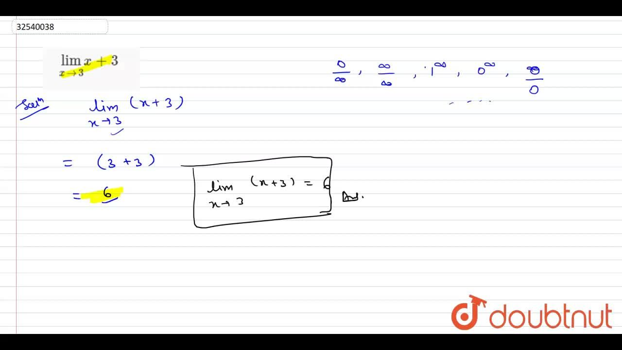 Solution for lim_(xrarr3) x+3