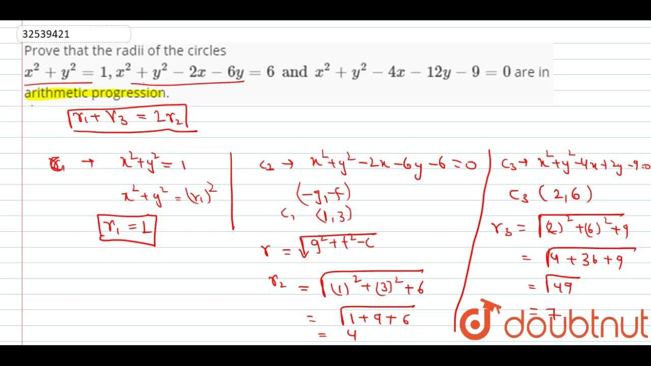 Solution for Prove that the radii of the circles x^(2)+y^(2)=1