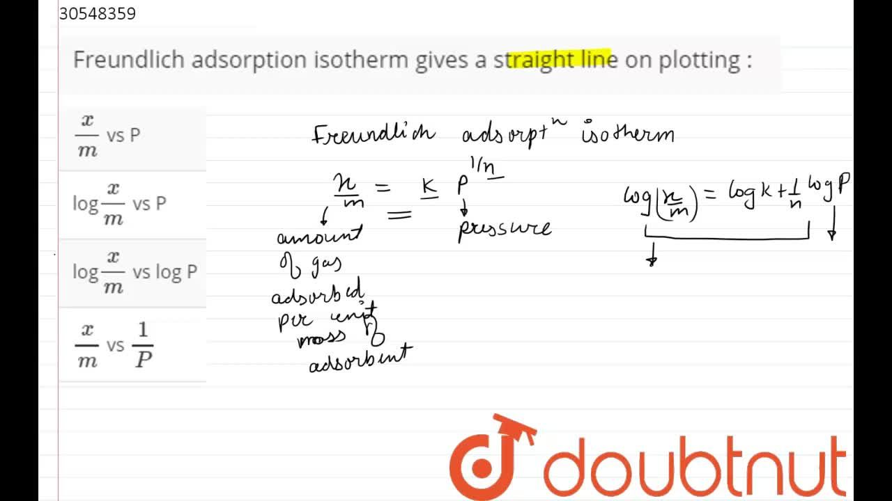 Solution for Freundlich adsorption isotherm gives a straight li