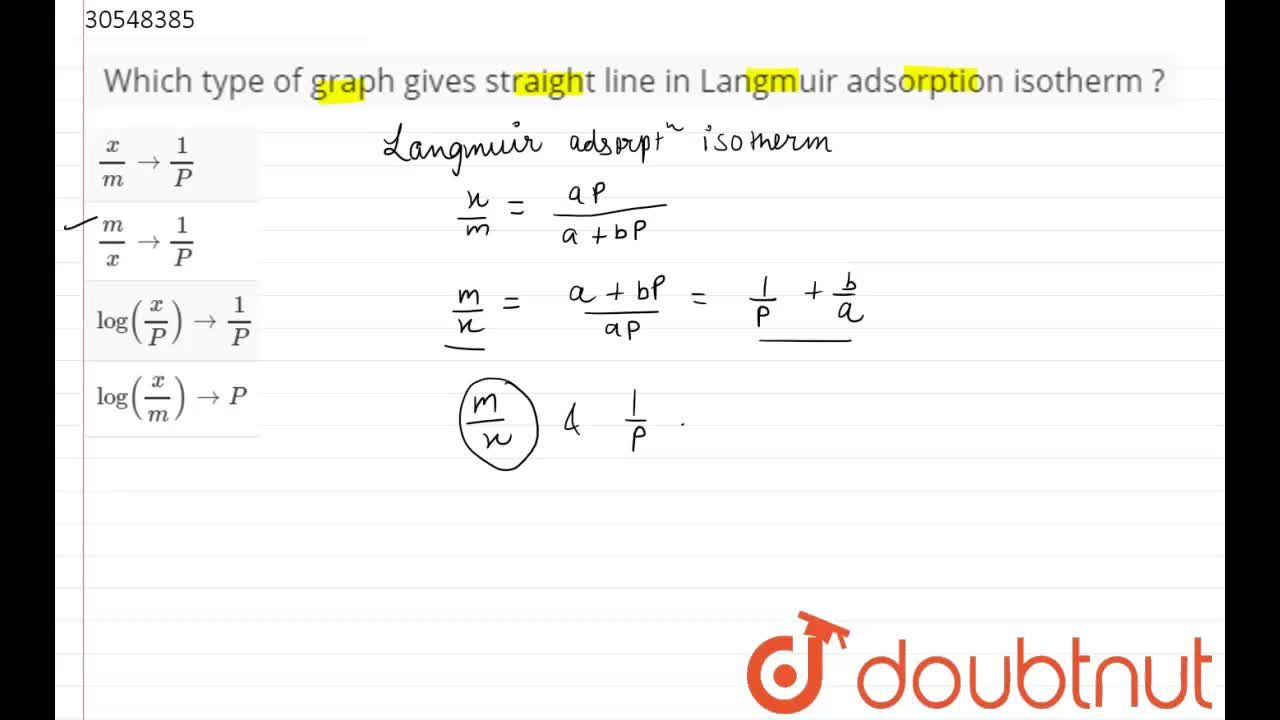 Solution for Which type of graph gives straight line in Langmui