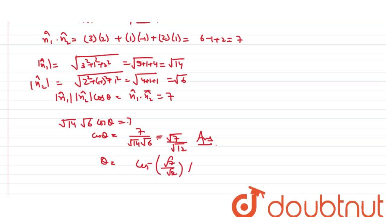 Solution for Find the angle between the planes 3x+y+2z=1 and