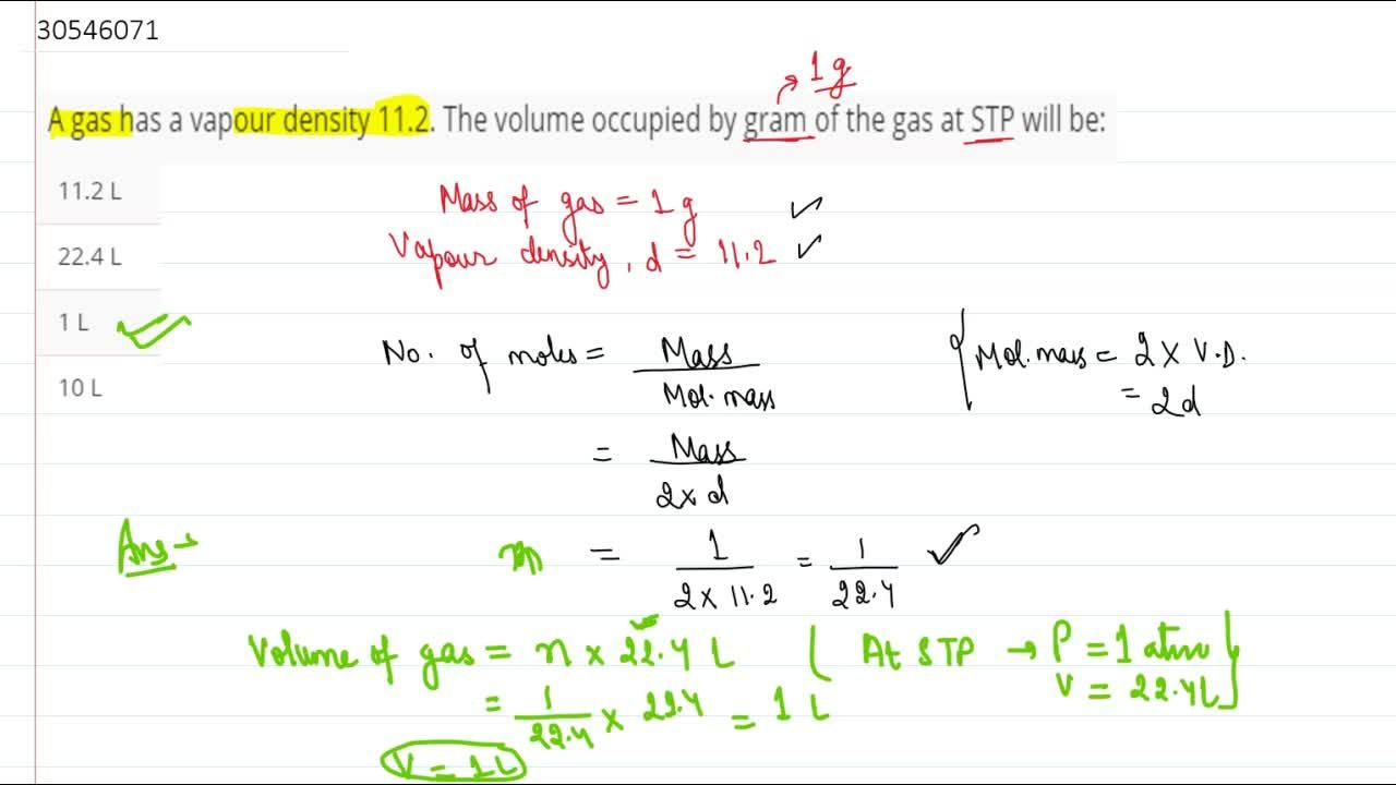 Solution for A gas has a vapour density 11.2. The volume occupi