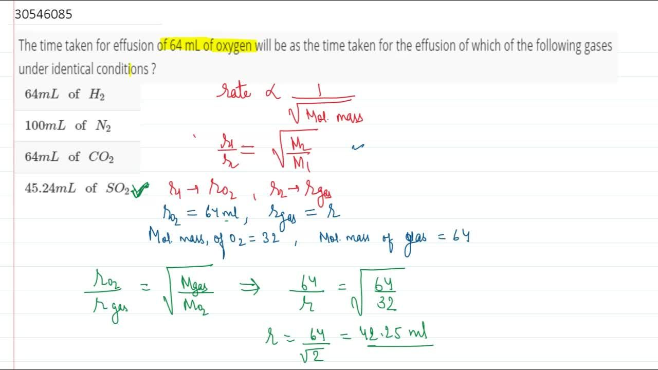 Solution for The time taken for effusion of 64 mL of oxygen wil