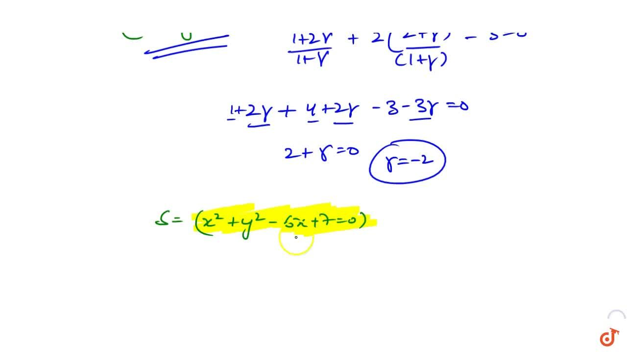 Solution for  The equation of the circle having its centre on t