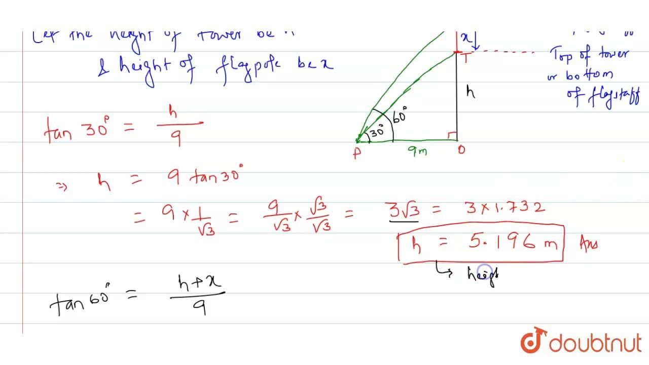 Solution for O a horizontal plane, there is a vertical tower wi