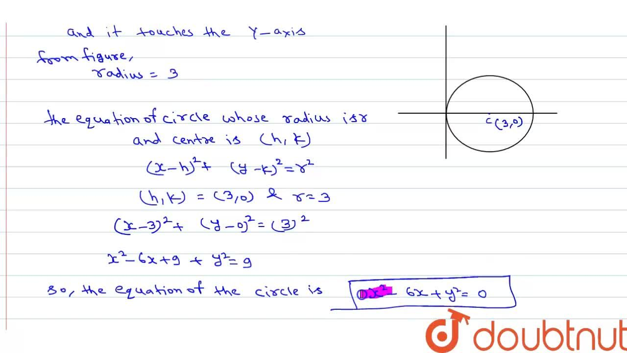 Find the equation of a circle which touches the Y-axis and whose centre is (3,0).