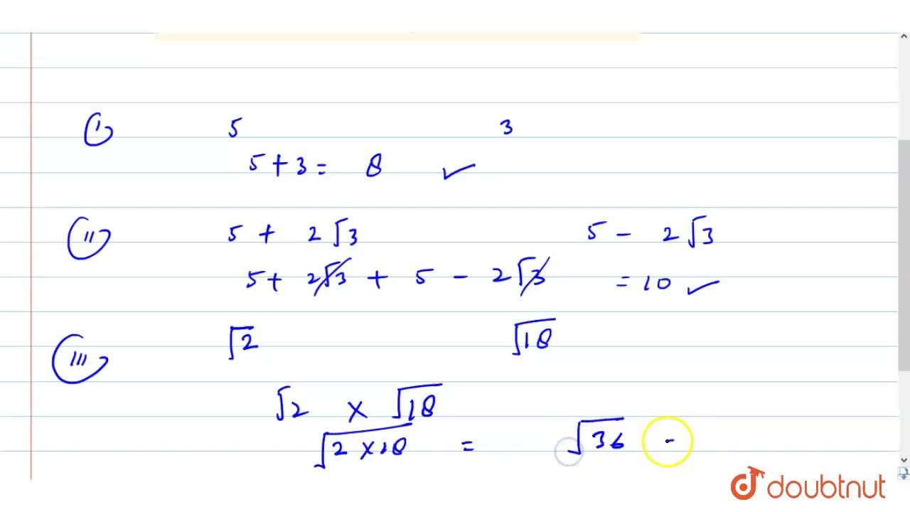 Solution for Give an example of : <br> (i) Two rationals whose