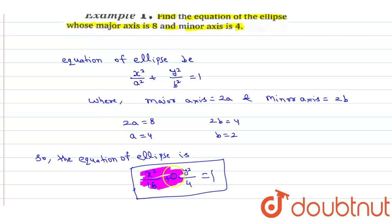 Solution for Find the equation of the ellipse whose major axis