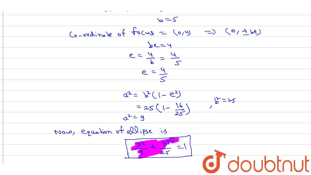 Solution for Find the equation of the ellipse whose centre is a