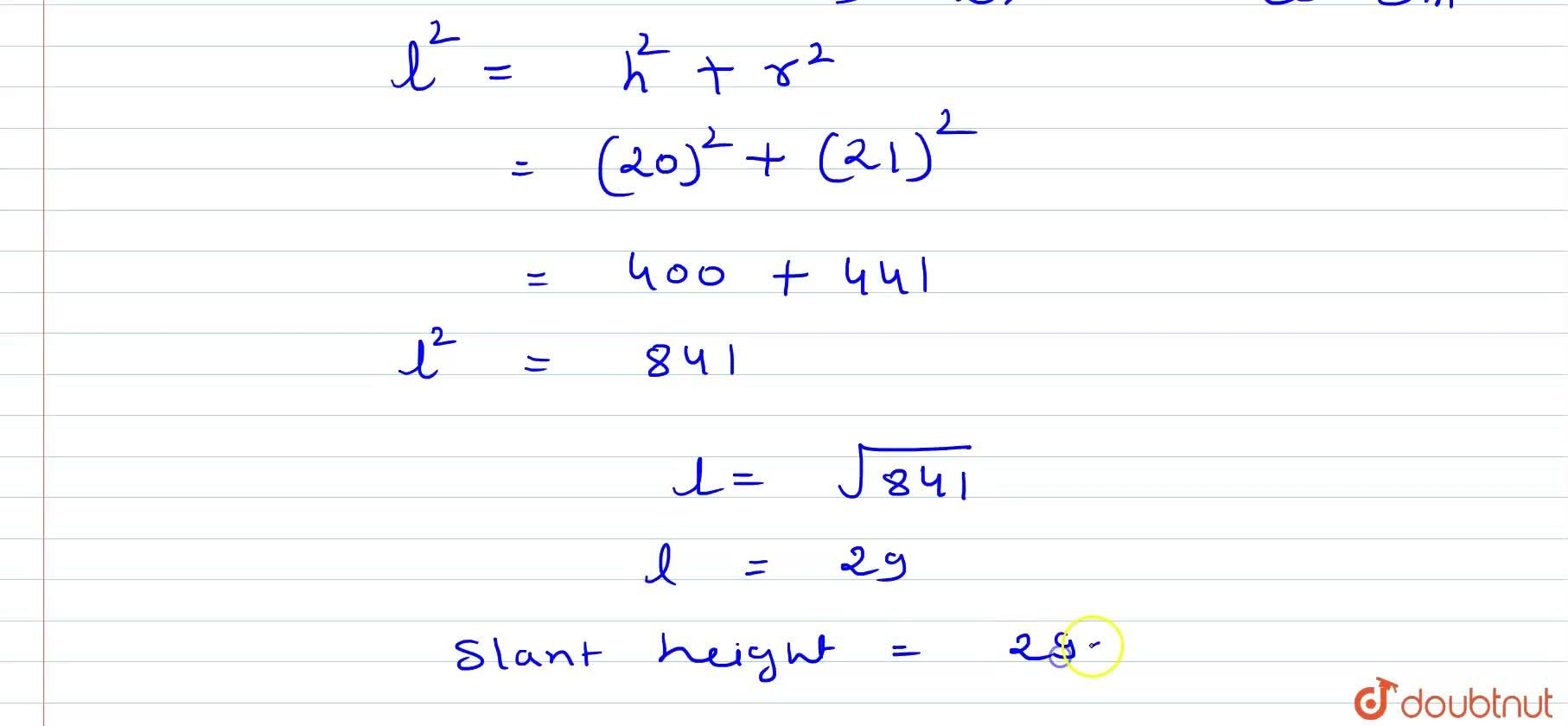 Solution for (i) The volume of a cone of height 24 cm is 392 p