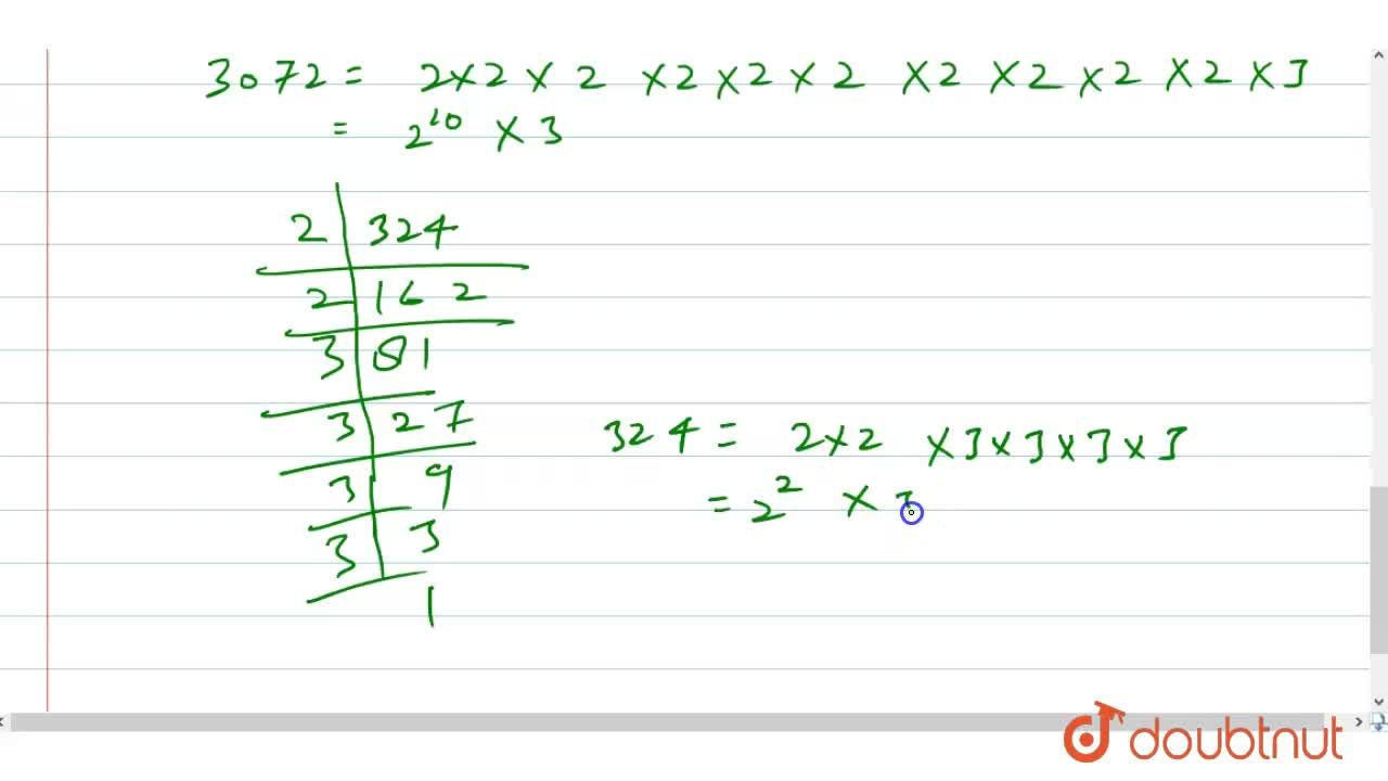 Express each of the following as a product of prime factors: <br> (i) 96 (ii)84 (iii) 150 (iv) 240 (v) 3072 (vi)324