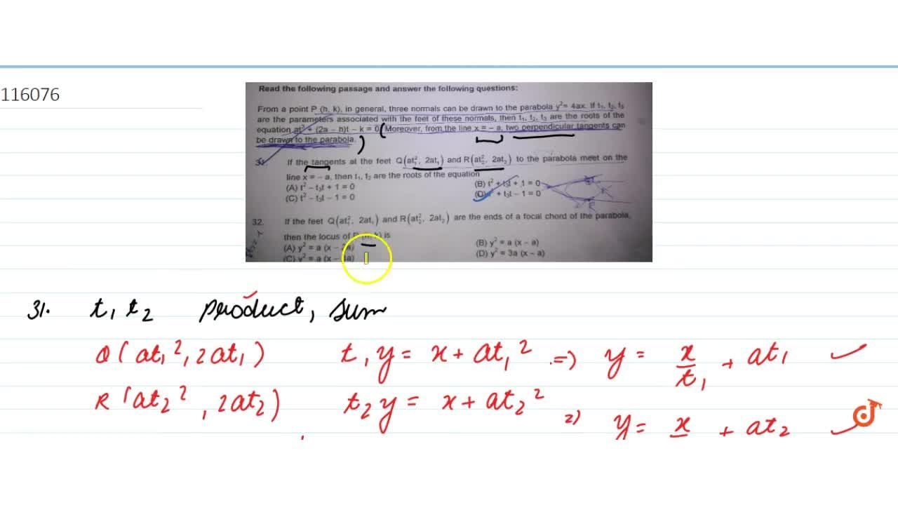 Solution for From a point  P (h, k), in general, three normal
