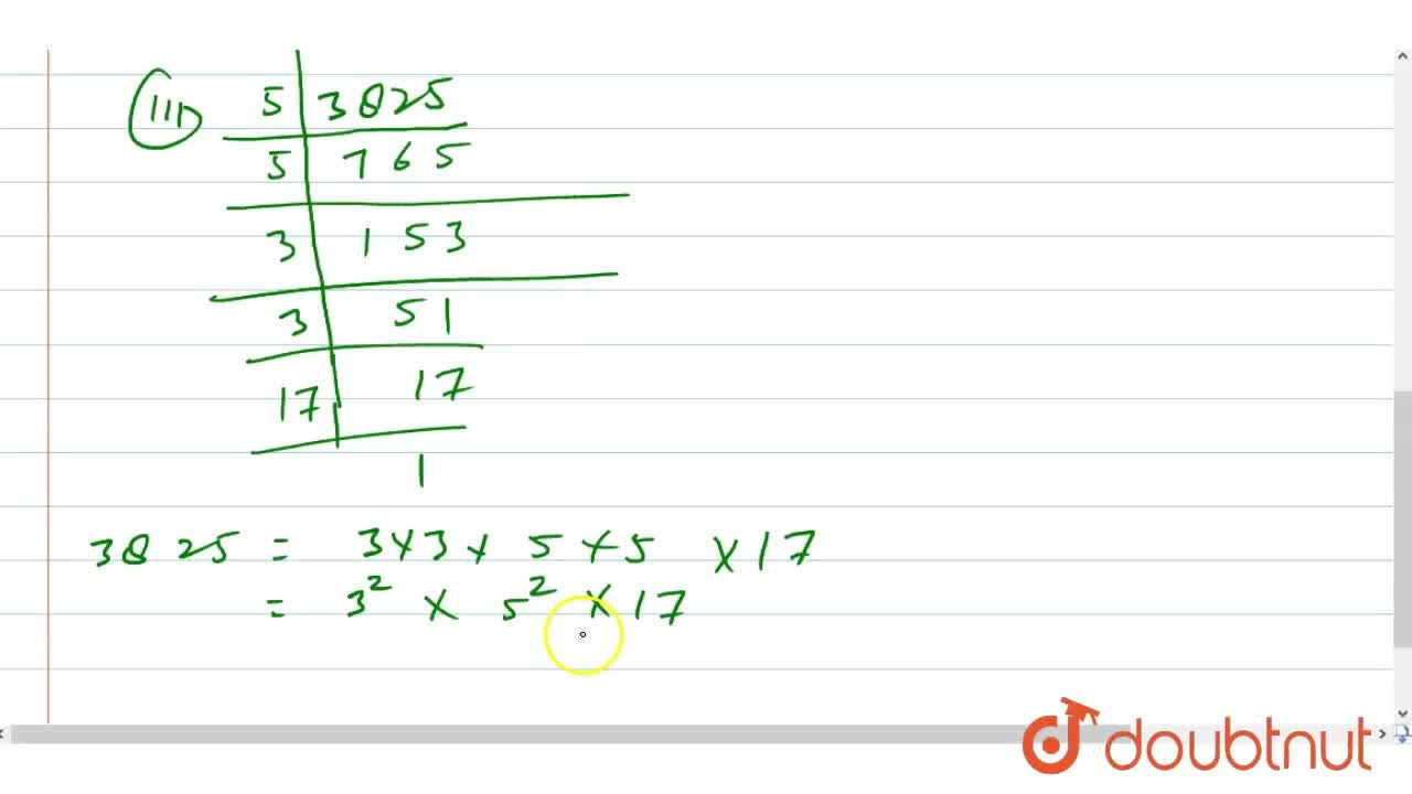 Express each of the following as a product of prime factors: <br> (i) 140 (i)156 (iii) 3825