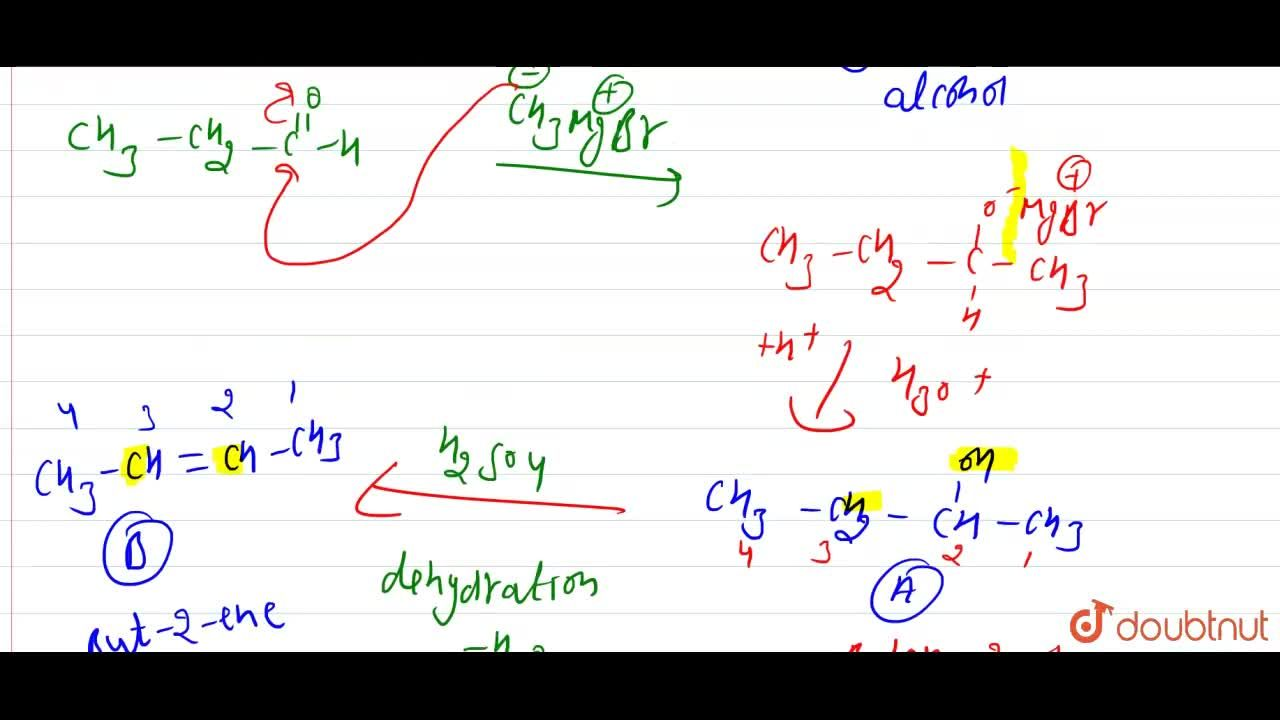 Solution for CH_(3)CH_(2)CHOunderset(H_(2)O)overset(CH_(3)MgBr