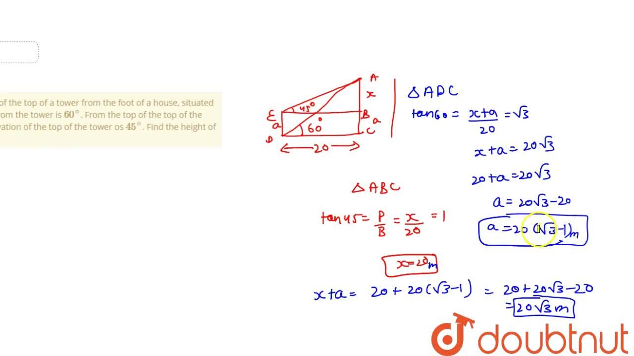 Solution for The angle of elevation of the top of a tower from
