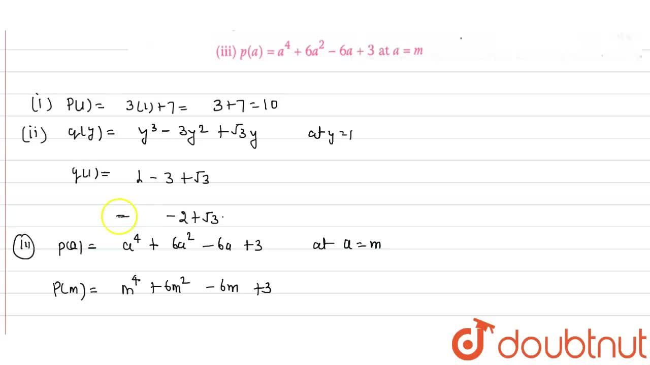Solution for Find the value of each of the following : <br> (i