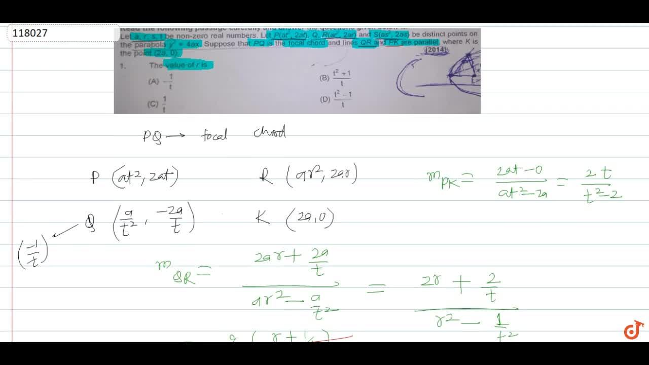 Solution for  Let a, r, s, t be non-zero real numbers. Let P(a