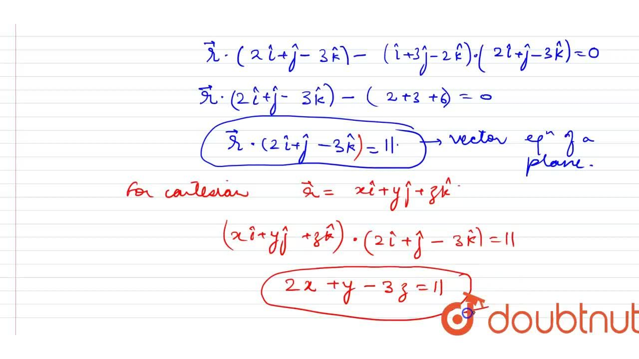 Solution for Find the vector and cartesian equation of plane wh