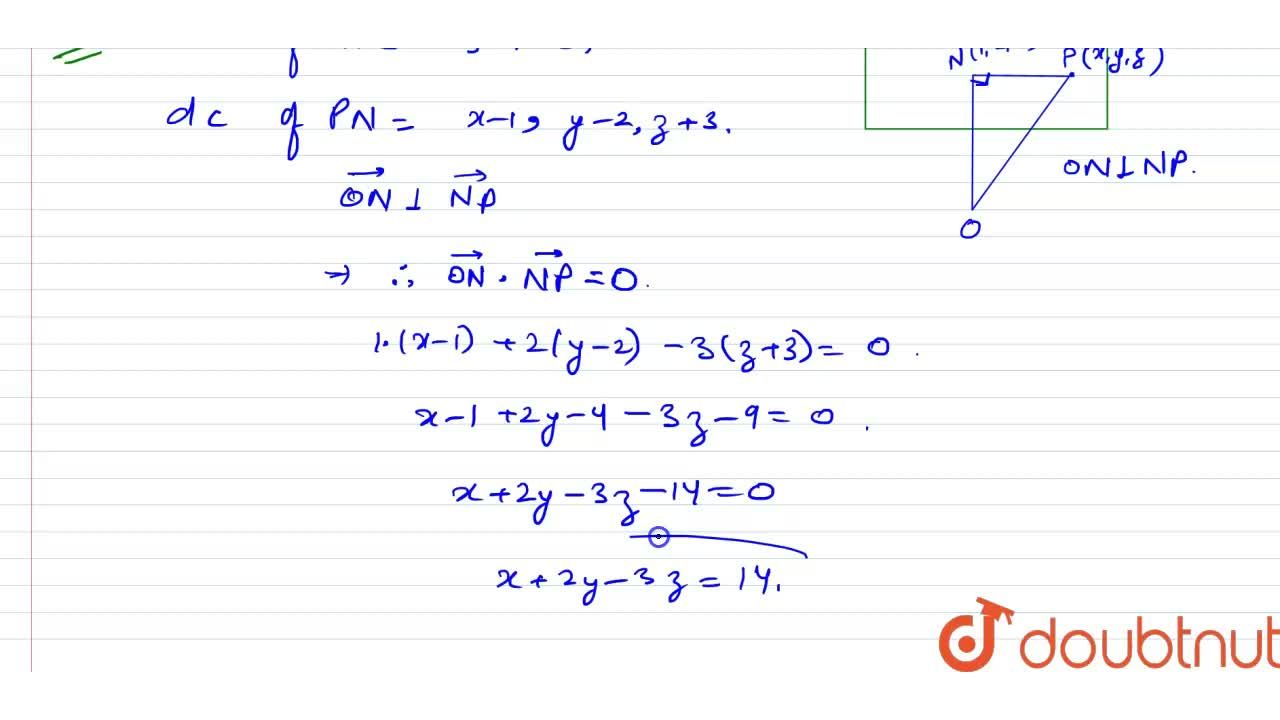 Solution for The co-ordiantes of the foot of perpendicular from