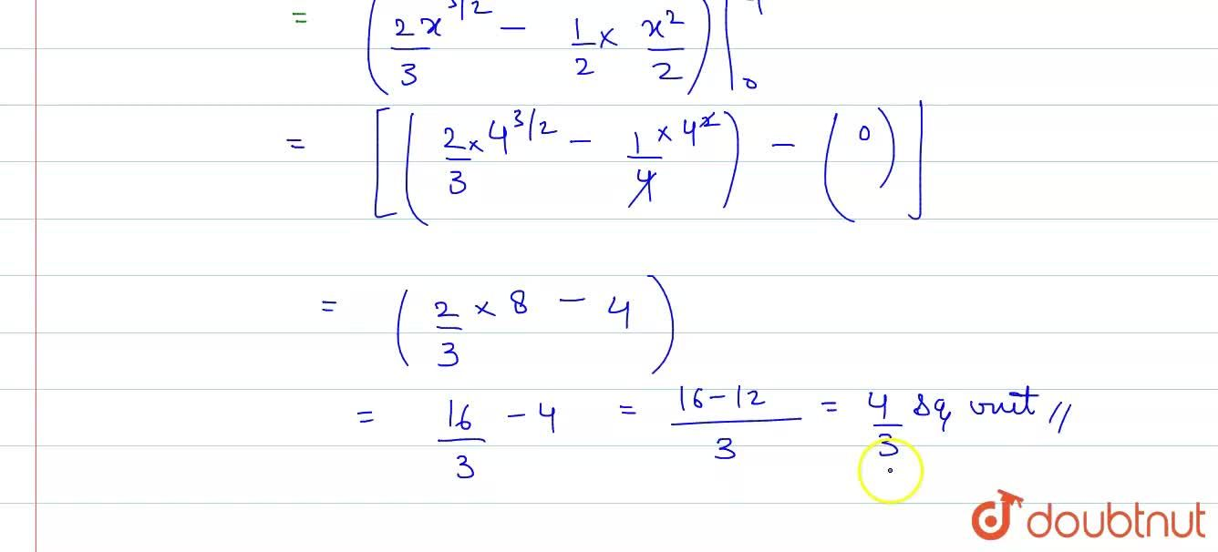 Solution for The area of the region bounded by parabola y^(2)=