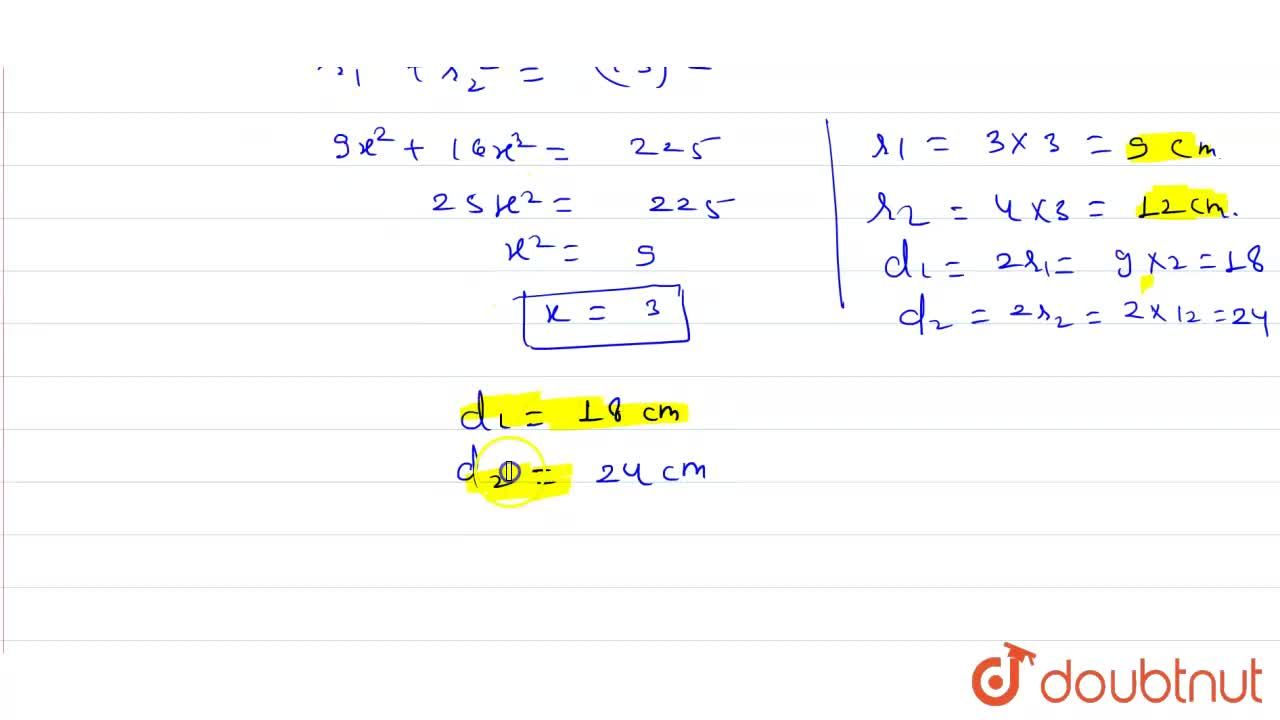 Solution for The diameters of two given circles are in the rati