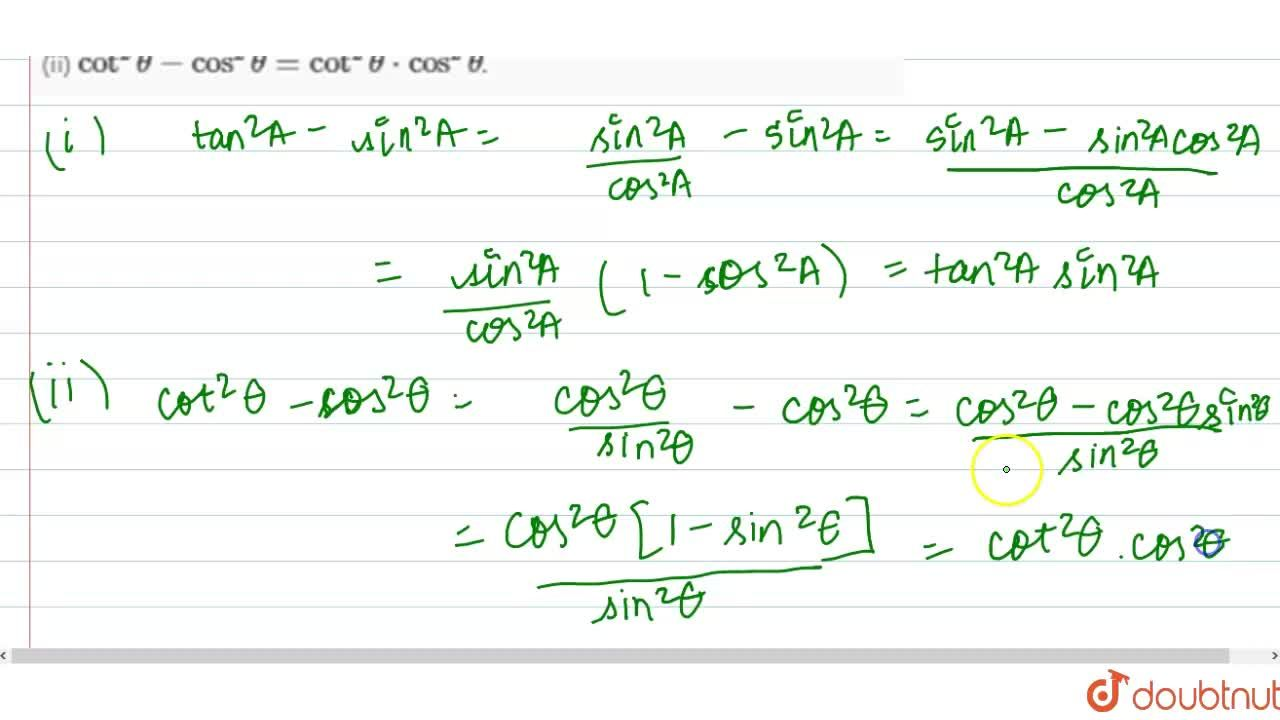 Solution for Prove that  :     (i)  tan^(2)A-sin^(2)A=tan^(2)A