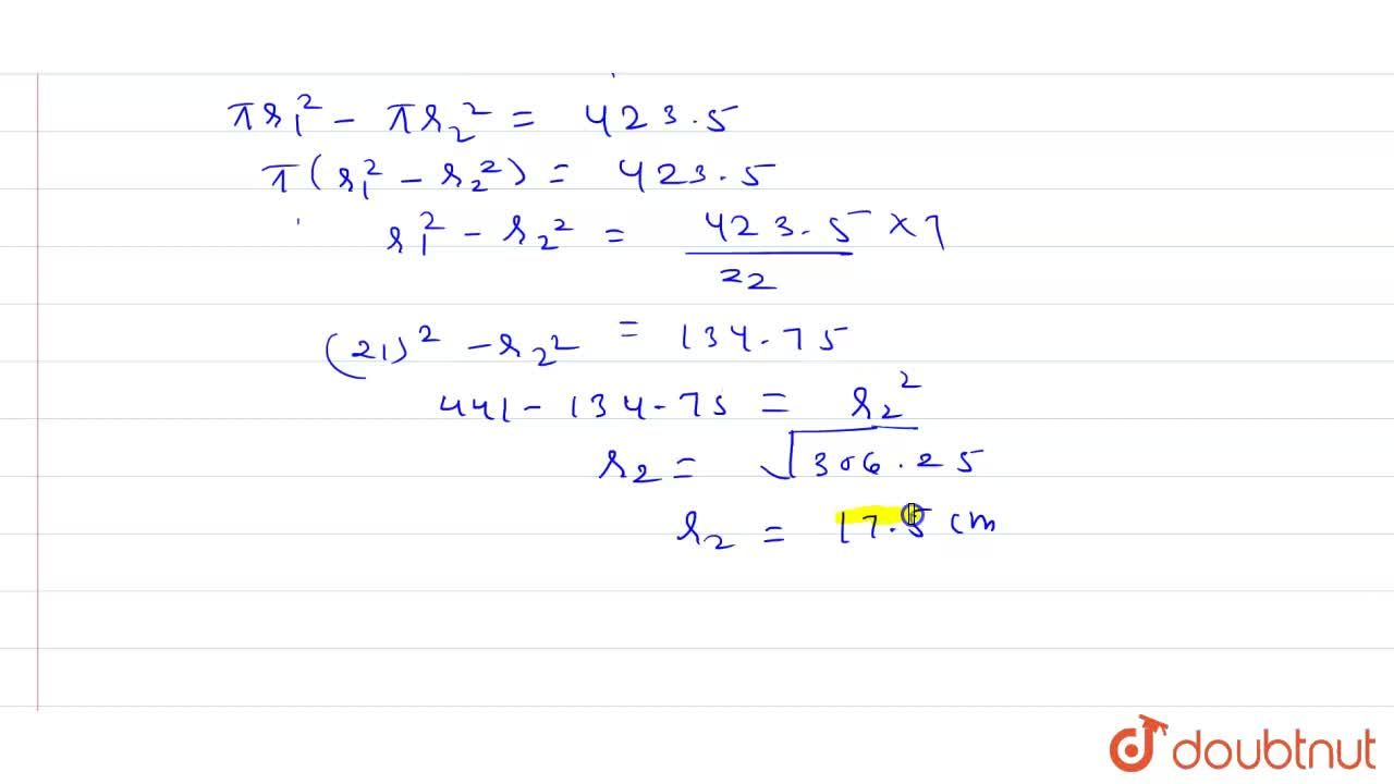 Solution for The area enclosed by the circumference of two conc