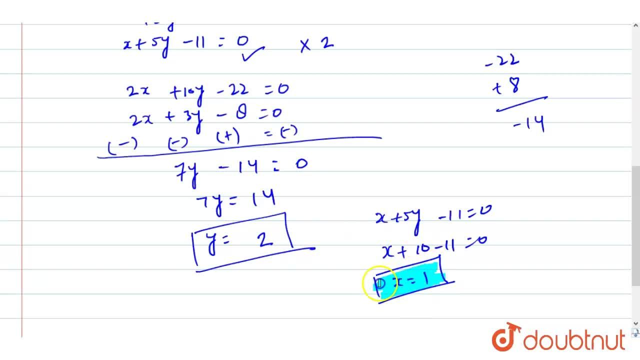 Solution for Solve for x and y , x[{:(2),(1):}]+y[{:(3),(5):}]