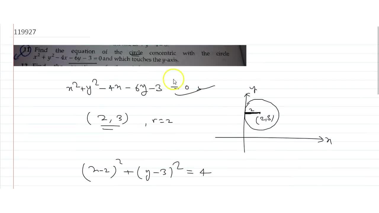 Solution for Find the equation of the circle concentric with th
