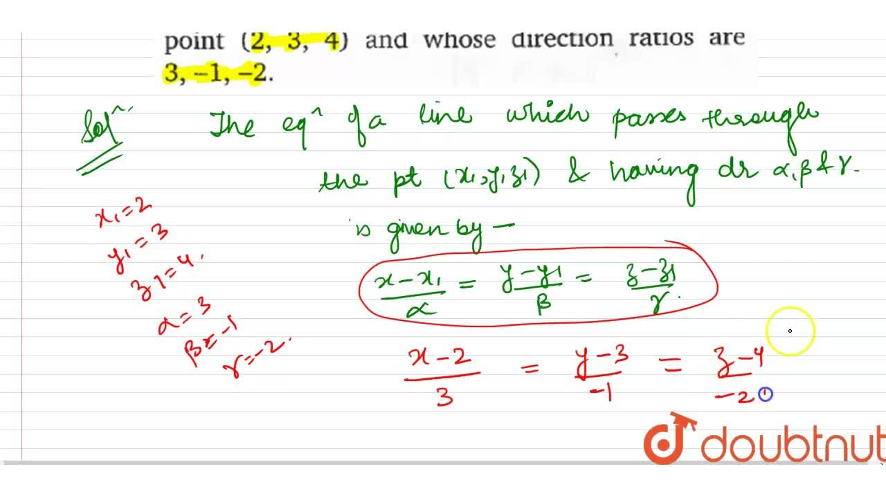 Solution for Find the equation of a line passes through the poi