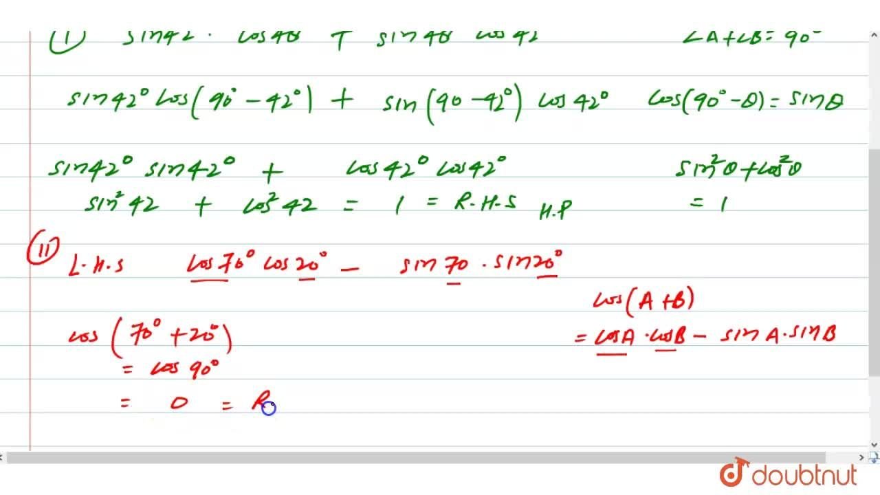 Solution for Prove that  :  (i) sin42^(@)cos48^(@)+sin48^(@)co