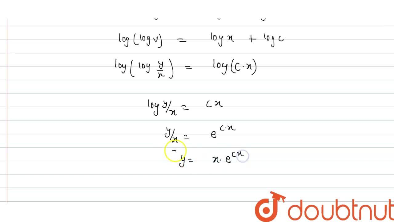 Solution for Solve x(dy),(dx)=y(logy-logx+1)