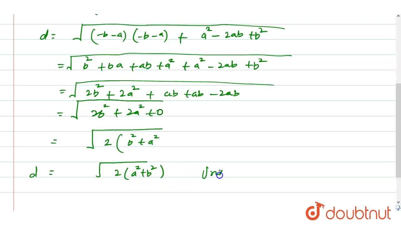 Find the distance between the points (a, b) and (-b, a).