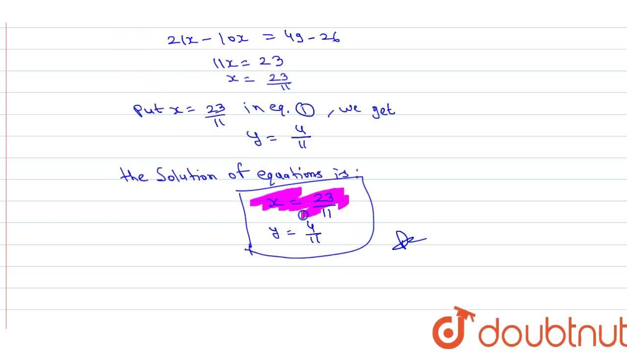 Solve :  <br>  (3x + 2y - 7)^(2) + (5x + 7y - 13)^(2) = 0,  for real values of x and y.