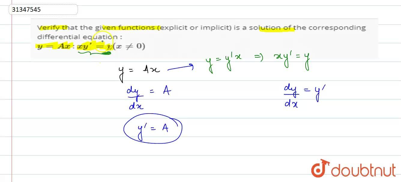 Solution for Verify that the given functions (explicit or impli
