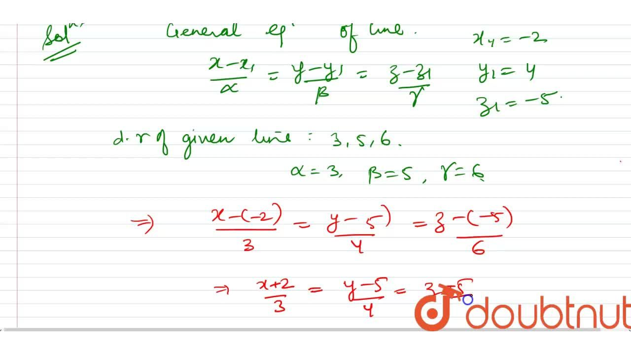 Solution for Find the cartesian  equation of the line which pas