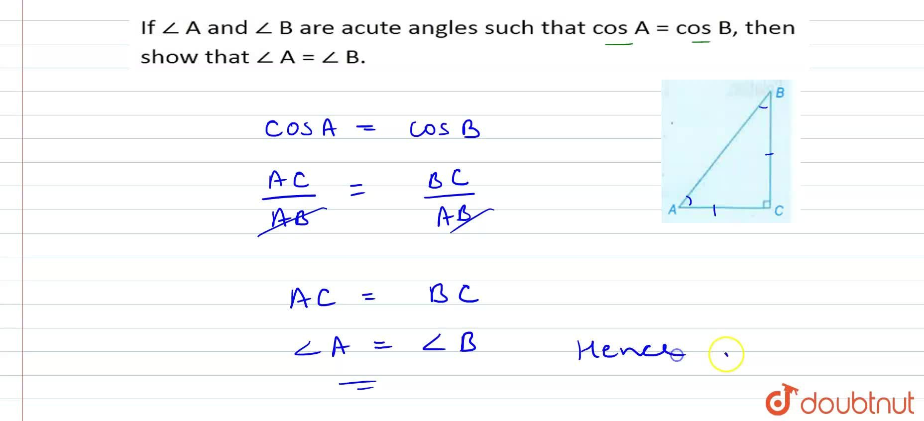 Solution for If angleA and angleB are acute angles such that