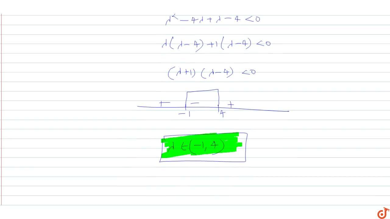 Solution for  If the points (lambda, -lambda) lies inside the