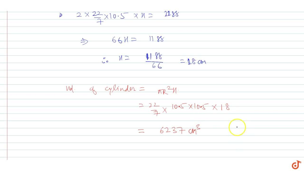 If the curved surface area of a cylinder is 1188 cm^2 and the total surface area is 1881 cm^2, then find the volume of the cylinder.