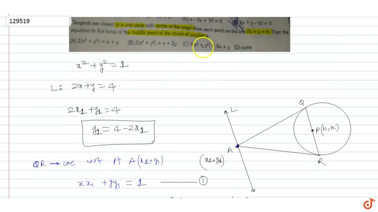 Solution for Tangents are drawn to a unit circle with centre at