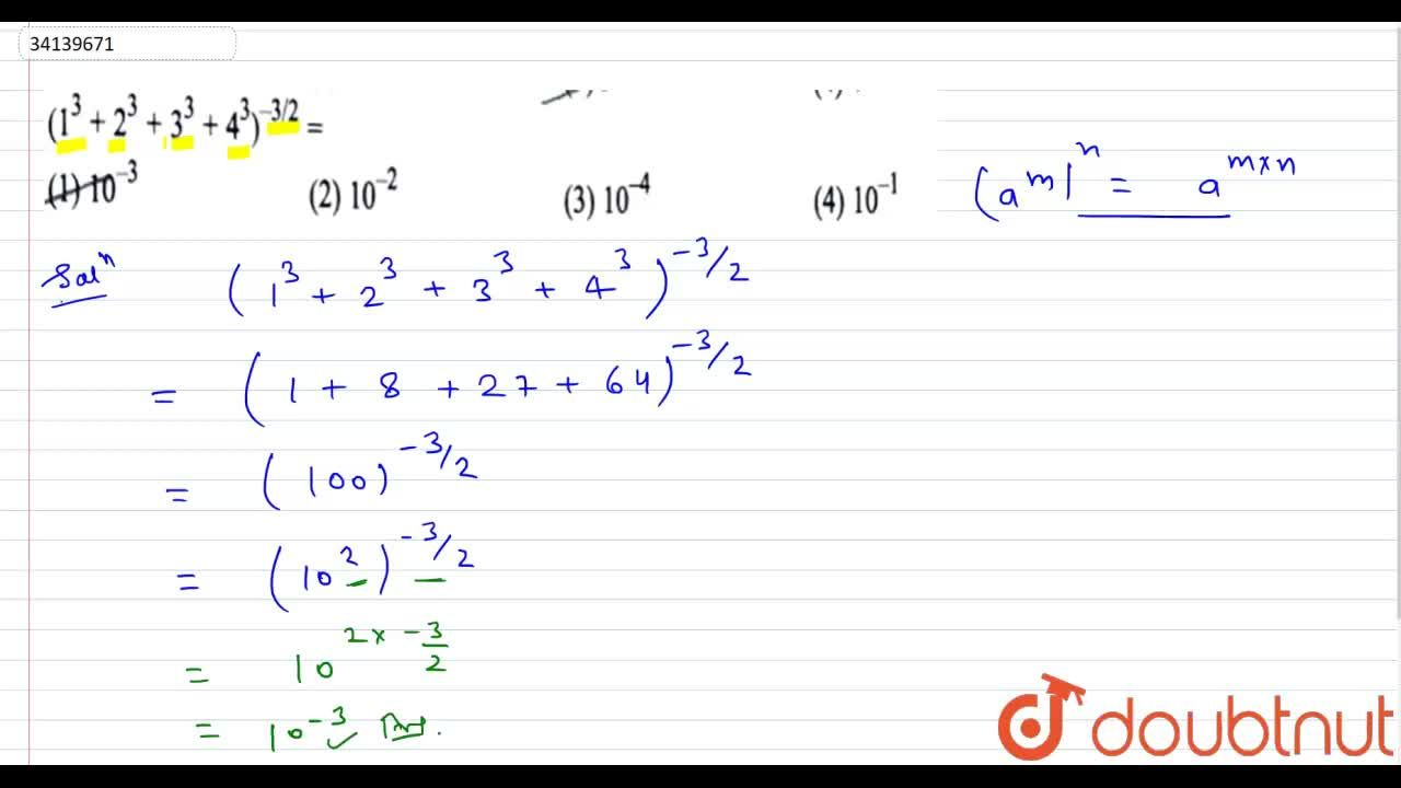 Solution for (1^(3)+2^(3)+3^(3)+4^(3))^(-3,,2)=