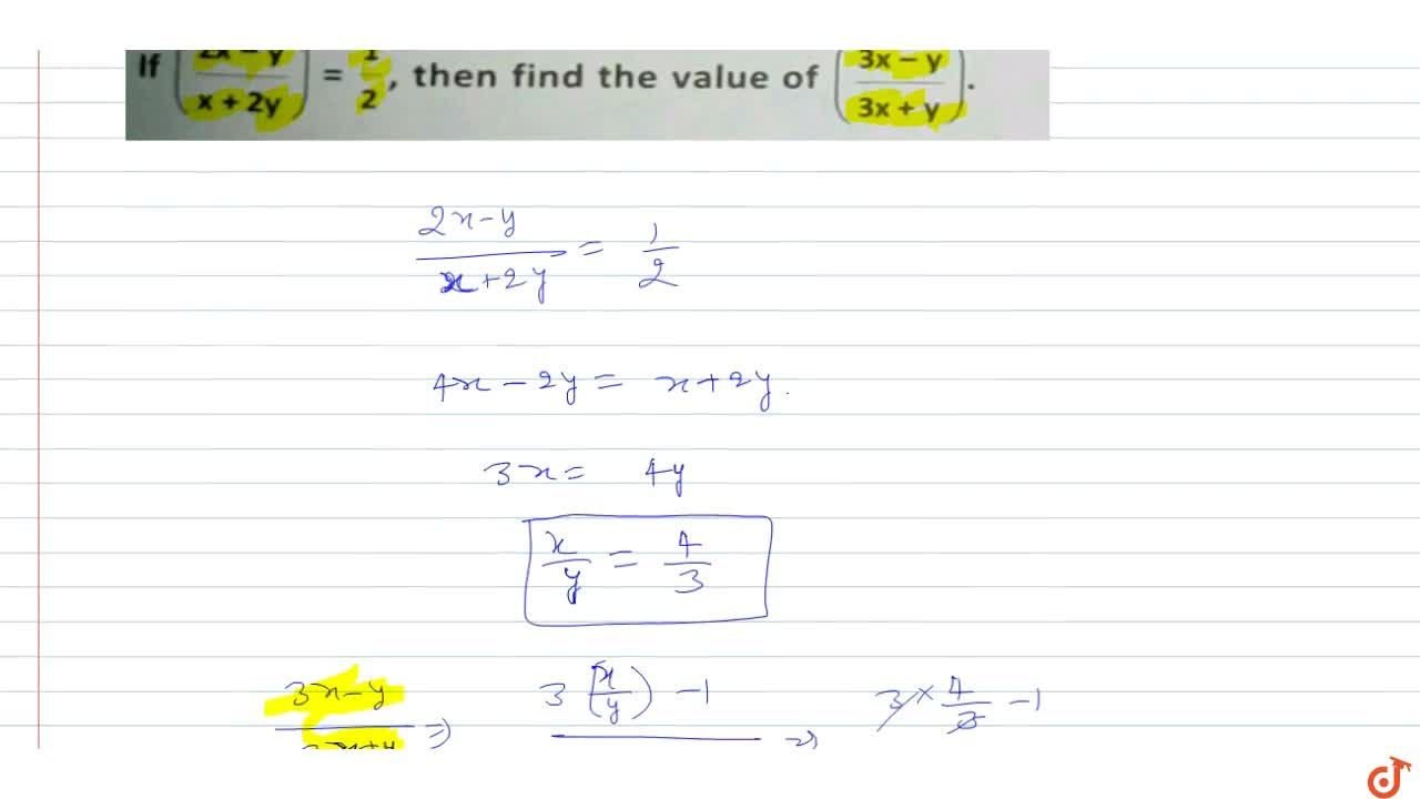Solution for If ((2x-y),(x+2y))=1,2 , then find the value of