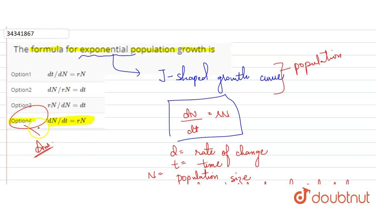 Solution for The formula for exponential population growth is