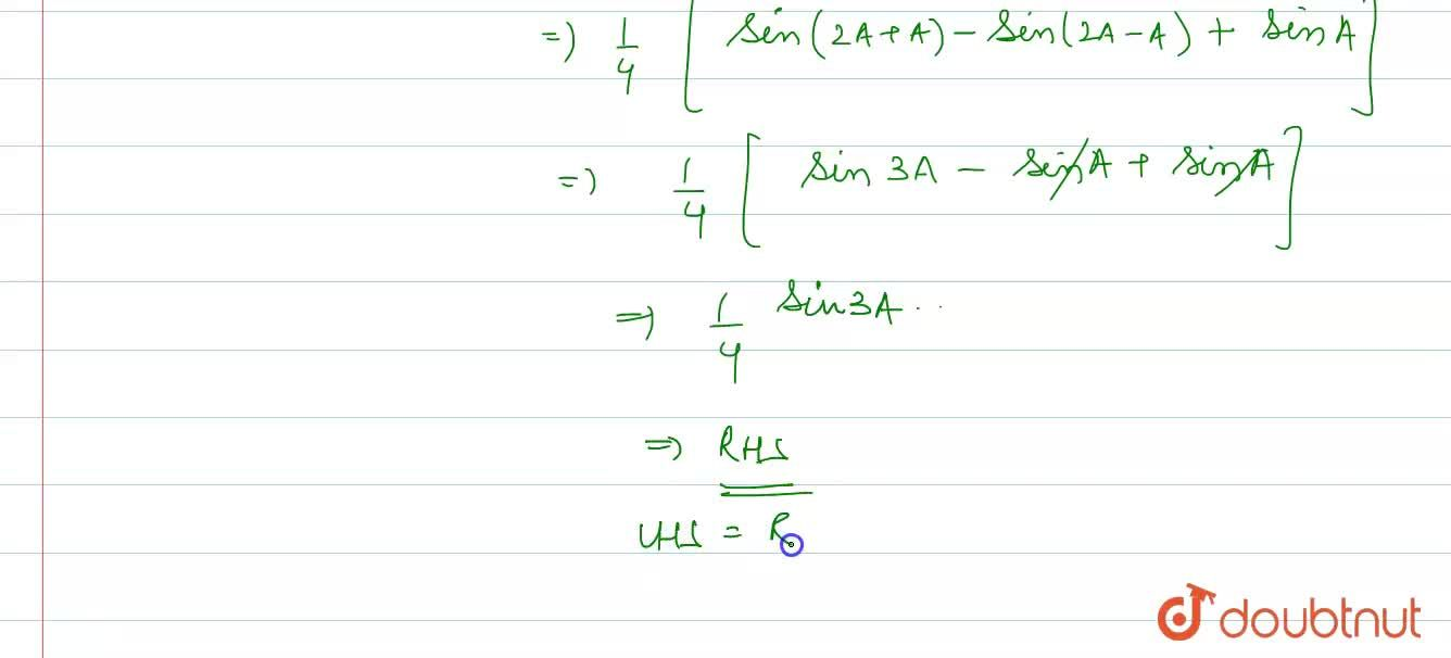 Solution for Prove that: <br> sinA.sin(60^(@)+A).sin(60^(@)-A)